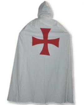Cape des Templiers blanc avec croix noire