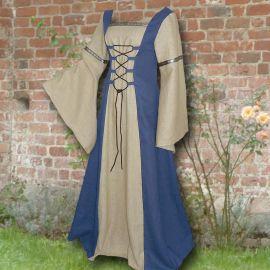 Robe médiévale Elisabeth en bleu clair et sable 50 - 54