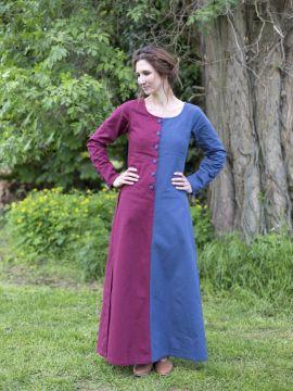 Robe médiévale bicolore à boutons bordeaux et bleu M