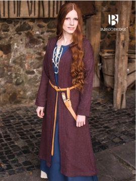 Manteau viking Siggi, en bordeaux et gris L
