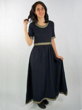 Robe manches courtes avec galon, en noir XL