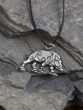 Pendentif Sanglier Celtique bronze argenté