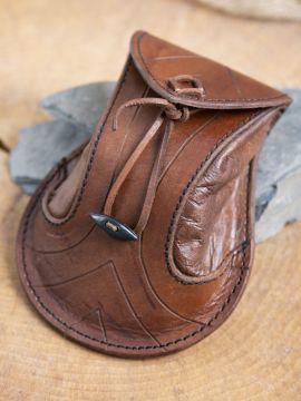 Bourse elfique en cuir épais en marron