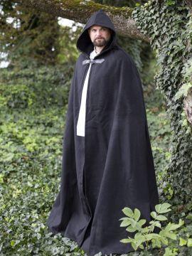 Cape en laine à capuche en noir 161 cm