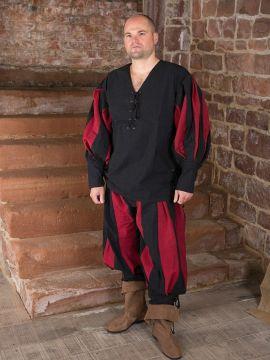 Ensemble chemise et pantalon Lansquenet noir-rouge | M | L