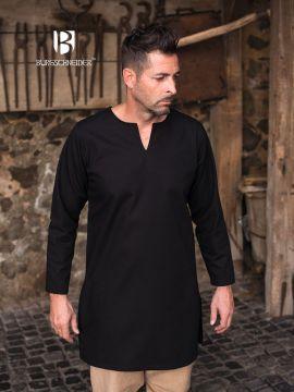 Tunique en coton non peigné en noir XXL