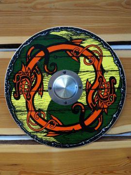 Bouclier Viking pour enfant, jaune-vert