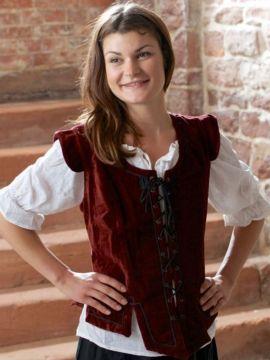 Corsage médiévale en velours rouge M
