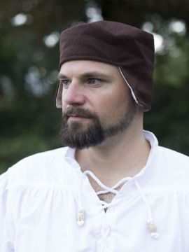 Bonnet médiéval en laine marron 62