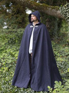 Cape unisexe en laine bleue 161 cm