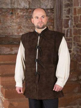Veste en cuir chamoisé à boucles XL