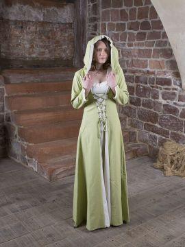 Robe médiévale Elsa en crème et vert clair 38