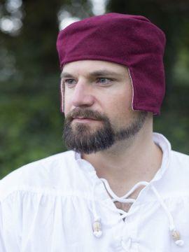 Bonnet médiéval en laine rouge 64