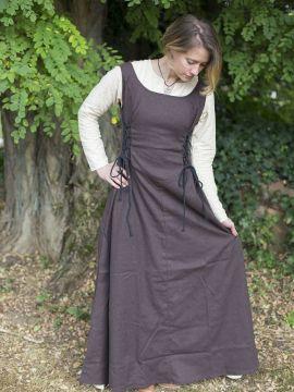 Robe médiévale sans manche en marron L