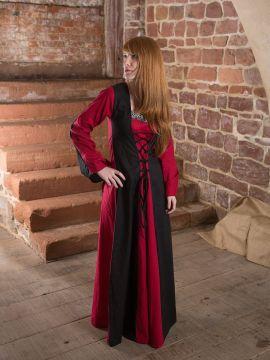 Robe médiévale Alina en noir et rouge 42