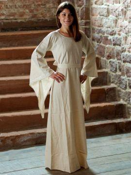 Robe médiévale en lin blanc-écru