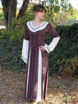 Robe médiévale  bicolore avec petite broderie en marron et blanc S/M