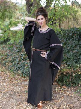 Robe Médiévale à galons, en noir