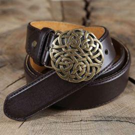 Ceinture en cuir à boucle celtique marron