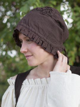 Coiffe médiévale de paysanne en marron