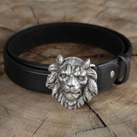 Ceinture en cuir tête de lion marron