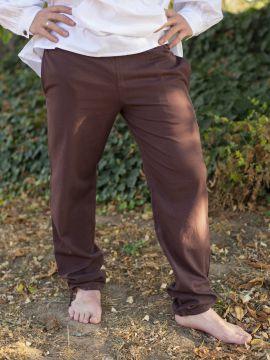 Pantalon médiéval serré aux chevilles, marron
