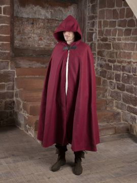 Cape unisexe en laine rouge 161 cm