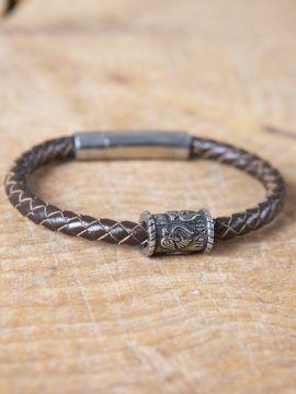 """Bracelet en cuir tressé avec perle viking """"Corbeaux d'Odin"""" petit"""
