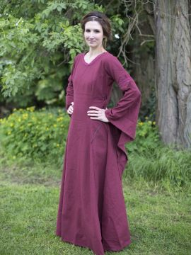 Robe médiévale manches trompette, en rouge/bordeaux L
