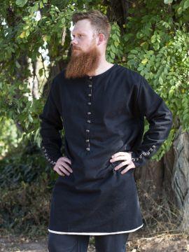 Tunique médiévale boutonnage en laiton en noir