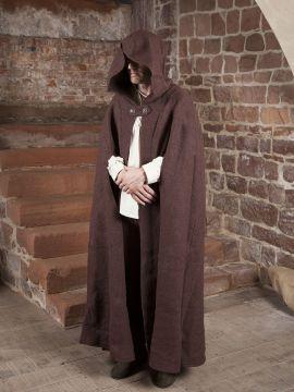 Manteau en laine à capuche en marron 140 cm