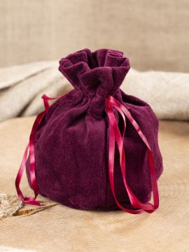 Bourse sac en velours bordeaux