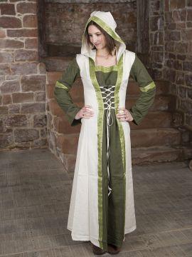 Robe verte et blanche avec capuche et broderies S/M