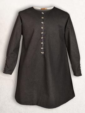 Tunique médiévale boutonnage en laiton en noir L
