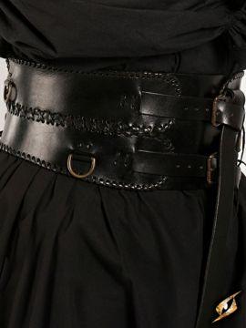 Ceinture corset en cuir, en noir L