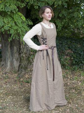 Robe médiévale sans manche en marron clair XL