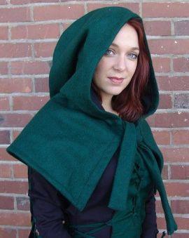Capuchon en laine entièrement doublé vert