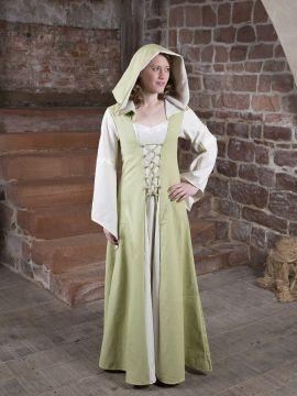 Robe Médiévale Irmel en citron-vert et blanc 38