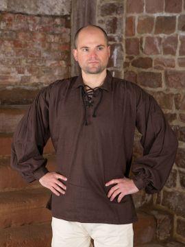 Chemise médiévale manches bouffantes en marron XL