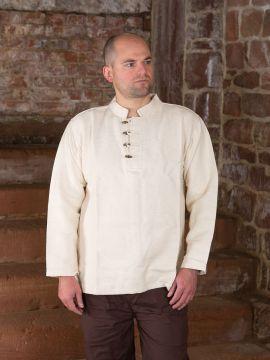 Chemise médiévale col droit et boutons en bois M | blanc-écru