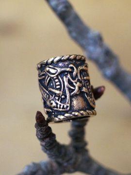 Grosse perle à cheveux, motif dragon