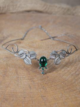 Couronne tiare avec perles vert foncé