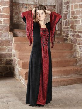 Robe médiévale ou gothique, bordeaux et noire M