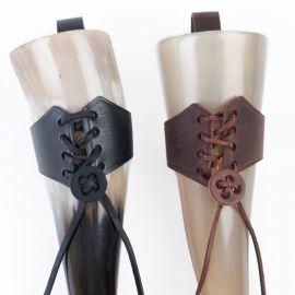 Porte corne en cuir moyen | noir