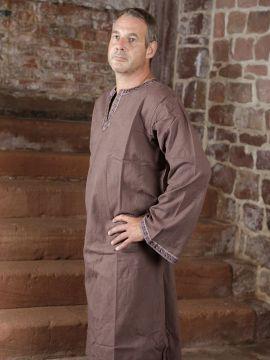 Tunique médiévale à galon en brun, en coton XL |