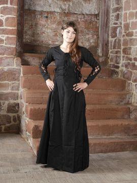 Robe médiévale à laçage sur les côtés L   noir