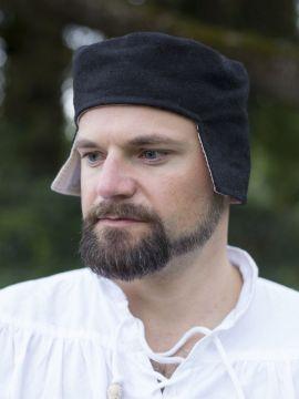 Bonnet médiéval en laine noire 60