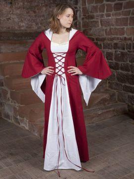 Robe médiévale Dorothée en rouge et blanc 34