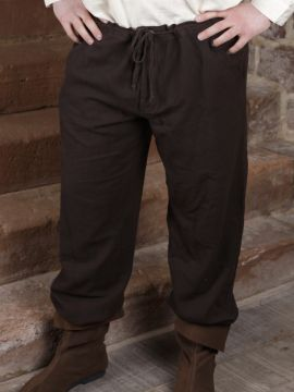 Pantalon à laçage en coton, marron foncé XL