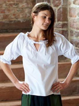 Blouse à manches courtes en blanc ou crème L | crème